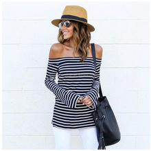 2018 New Design Women's Off Shoulder Flared Sleeve Black and White Stripe T Shirt Top Blouse
