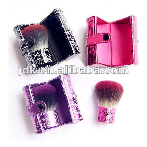 mini travel kabuki brush with hard shell leather case