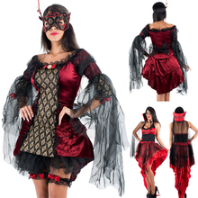 Wanita Witch Dress Karnaval Cosplay Dewasa Kostum Halloween
