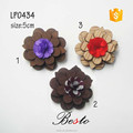 Wooden lapel pins fabric flower center brooch for men suits wedding decoration