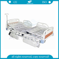 CE&ISO high quality rolling bed AG-BM101 3-function 10 part bedboards electric sick sturdy used nursing home beds in hospital
