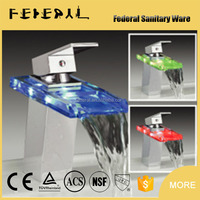 LB-A7 artistic China factory LED glass fancy wholesale side mounted artistic brass bathtub bathroom faucet