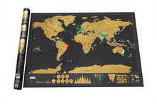 Wholesale Popular Professional Paper Gold Scratch World Map