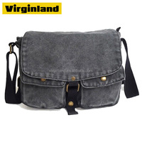High Quality Grey Durable and Thick Mens Canvas Shoulder Bag with Long Single Shoulder Strap Wholesale