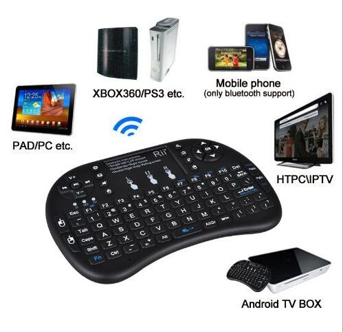 China Factory Airmouse Rii i8+ 2.4G Wireless Mini Keyboard for Google Android Devices with Multi-touch up to 15 Meters