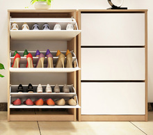 Wooden Shoe Rack Storage Cabinet With Modern Style Cover