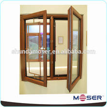 Decorative oak wood double pane casement window with blinds for bedroom