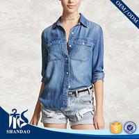 Guangzhou Shandao Wholesale Summer OEM Casual Flap Pocket Long Sleeve Classic women denim shirts