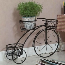 Black Iron Bike Decoration Scrollwork Deck Rail Garden Planter