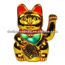 golden ceramic fortune cat figurine