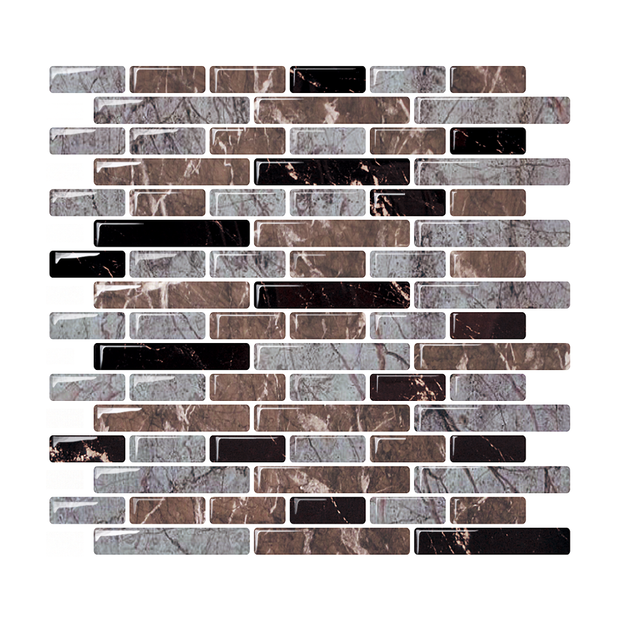 Bigio 10&quot; x 11&quot; Peel and Stick Mosaic Tile in Grey / Brown / <strong>Black</strong>