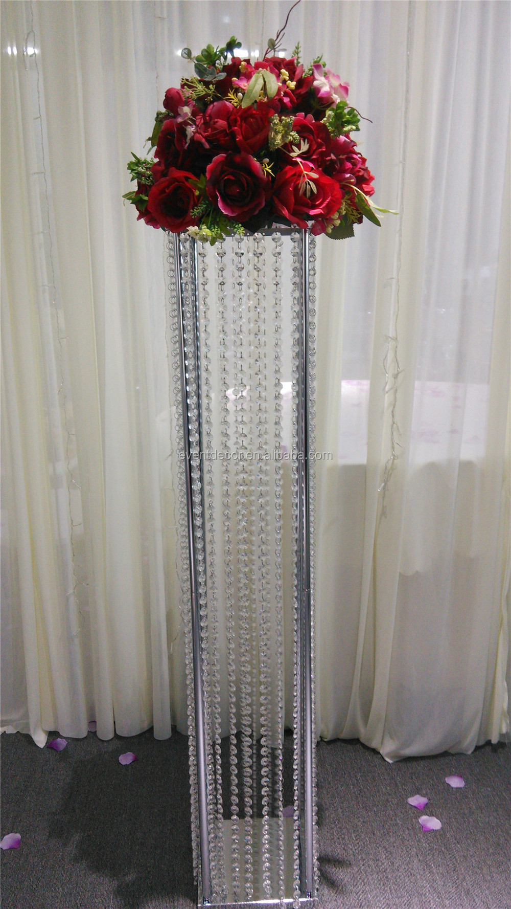 Square wedding decoration flower stand tall wrought iron for Stand decoration