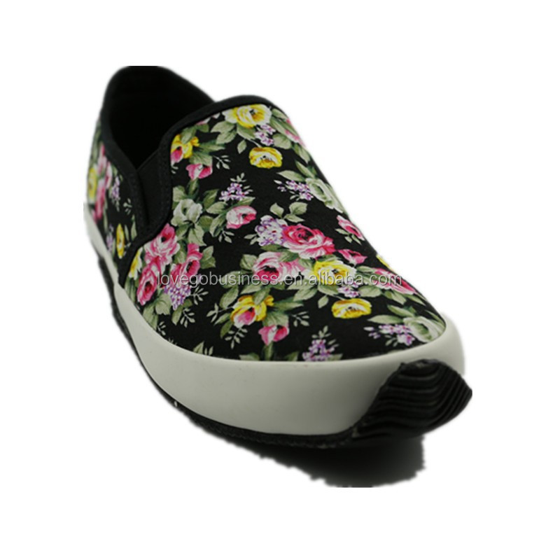 fashion flower print fancy no lace casual canvas shoes zapatillas sneaker penny loafer zapatos de mujer
