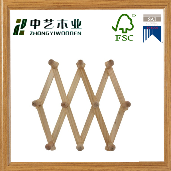 Promotional Eco-friendly handmade unfinished antique wooden wall hanging clothes hooks