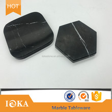 Polished black marble coaster sets