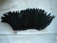 Dyed Black Strung Rooster Tail Feather