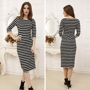 2017 new winter Mens striped dress dress burst eBay foreign women sexy slim