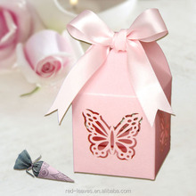 decorative pink butterfly flat pack gift box for indian wedding sweet packaging box favor decorative paper boxes