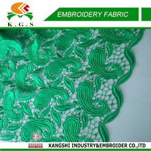 2015 High Quality Green Lace Fabric from China for Garment Accessories