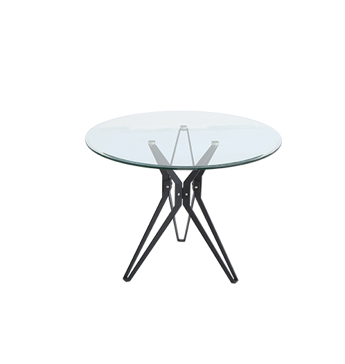 modern tempered glass dining table and chair with stainless steel