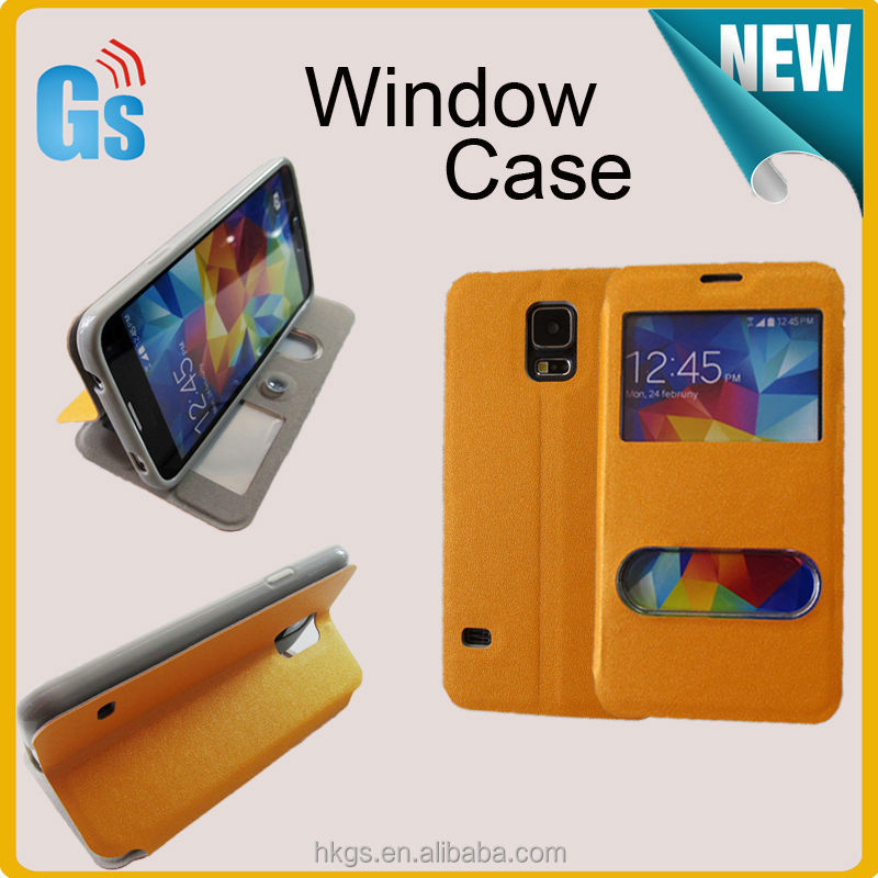 Hot New Products for 2014 Window Leather Case PC Cover For Samsung Galaxy S5 S V I9600