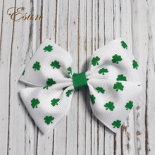 Happy St.Patrick's Day hair bows Clover feather bows Trefoil girls' ribbon hair accessories