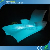 GLACS Control Swing Lounge Chair LED Illuminated Outdoor Plastic Chaise Lounge Chairs