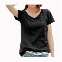 Girls Plain Basic Solid Black Color Soft High Wode Low Loose Fit Cool Summer Sport Short Sleeve V Neck T-Shirt Women'S