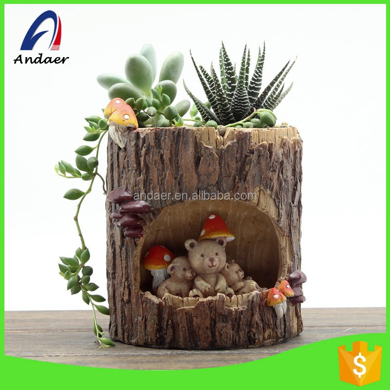 Household Outdoor decoration,balcony set,innovative design tree stem-alike resin flower pot