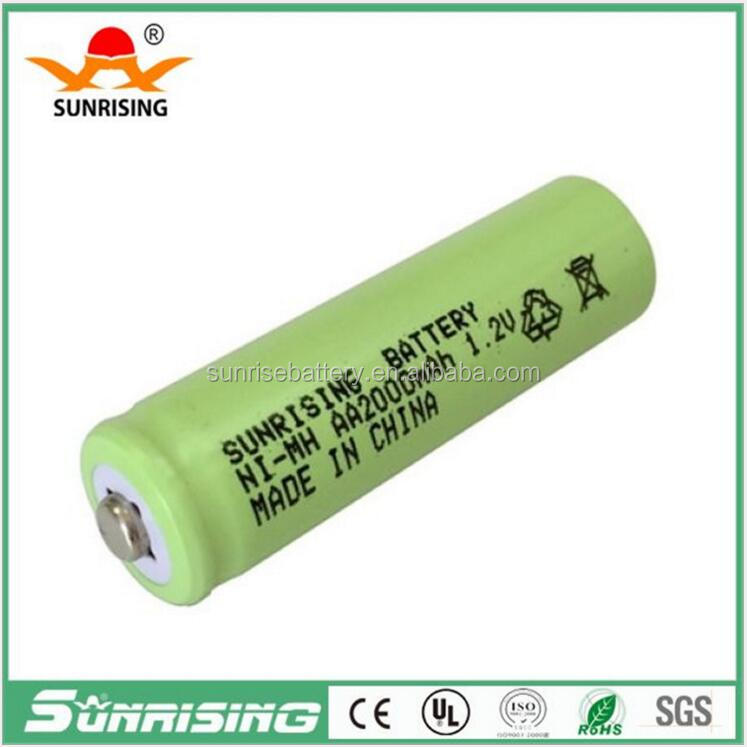 pointed top AA 2000mAh 1.2 volt Rechargeable Battery/NI-MH 1.2V Rechargeable 2A Battery Baterias 2000mAh