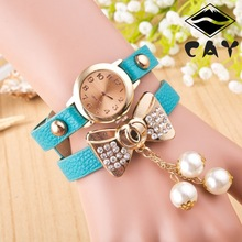 2921 Lady bow pendant long strap fashion cheap bracelet pearl watch copper bracelet watch