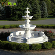 3 Tiers Outdoor White Stone Marble Garden Water Fountain
