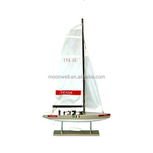 America's Cup Sailing Boat, Wooden Sailboat Model, Souvenir Clipper Model Nautical Gifts Decoration