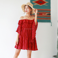 high Quality red Lace A Line Dress