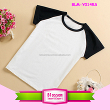 Wholesale custom printing short sleeve raglan sleeve t shirt two color white/black raglan kids t shirt
