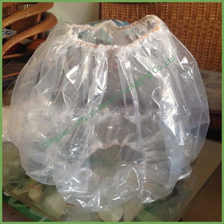 Custom printed clear plastic super big jumbo packaging bag with elastic