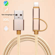 Fast Charging 2 in 1 2.4A Nylon Braided Usb Data Cable for iphone X for samsung
