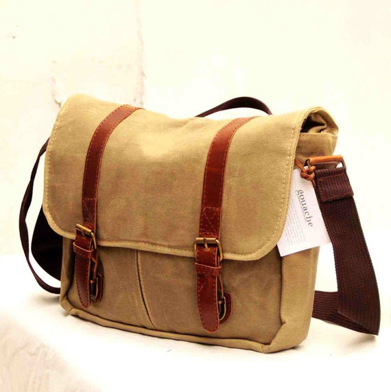 Canvas Laptop Bag, Waxed Canvas Bag, Wax Canvas Messenger Bag