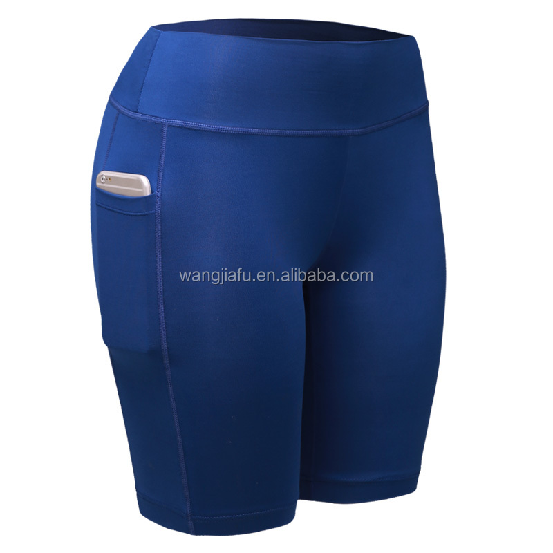 Wholesale quick dry polyester/spandex women gym sport shorts with pockets