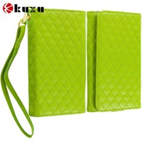 Wholesale Green Luxury Leather Wallet Pouch Case Cover with Slots , fashion hot sale leather mobile phone cover