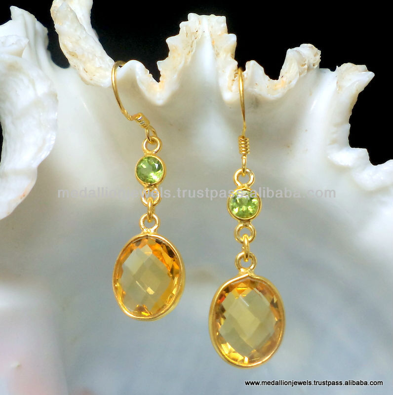 Citrine Oval & Periot Round Facet Earrings, 925 Solid Sterling Silver Vermeil Earrings, Designer Dangle Gold Plated Earrings