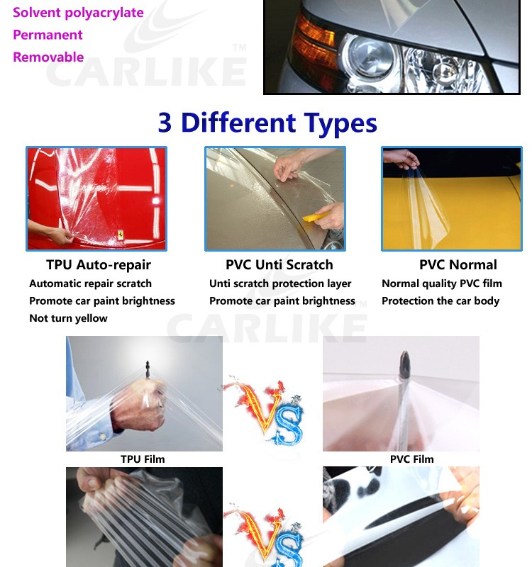 1.52x15m 5x49ft Super PVC Transparent Car Paint Protection Film