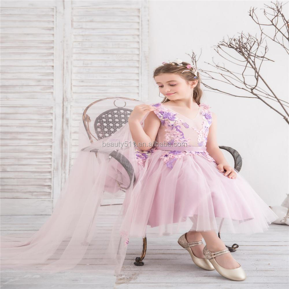 2018 light purple flower dre lace tull removeable tail princess kids dresses birthday party girl dress summer party wear