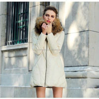 2016/2017 New Designs Wholesale Cheap Stylish Women White Long Down Coat with Big Fur Collar/Suit Coat Jacket for Winter