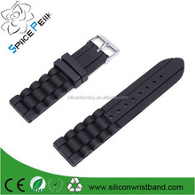 New 18mm 20mm 22mm 24mm Soft Sport Black Silicone Rubber Watch Band Strap Waterproof 2 Spring Bars
