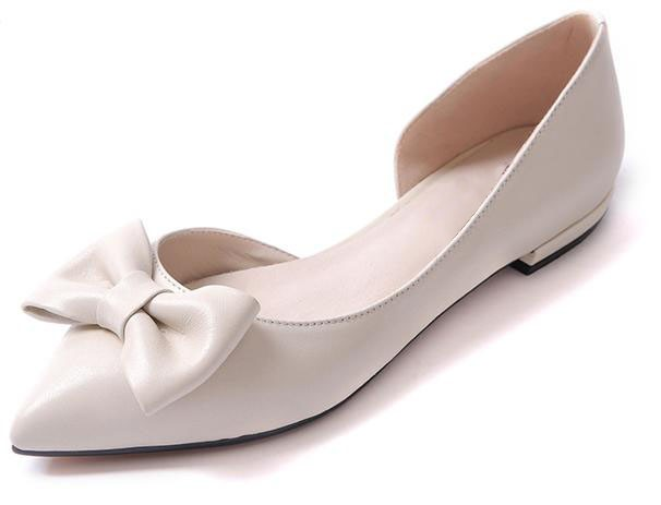 Sexy nude flat shoes with bow women flats ballerinas