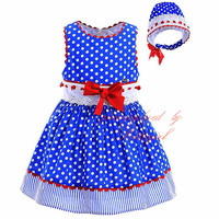 Pettigirl Fashionable Polka Dot Dress For Girls With Headwear Blue Boutique Baby Dress Hand Made Infant Clothes G-DMGD905-772