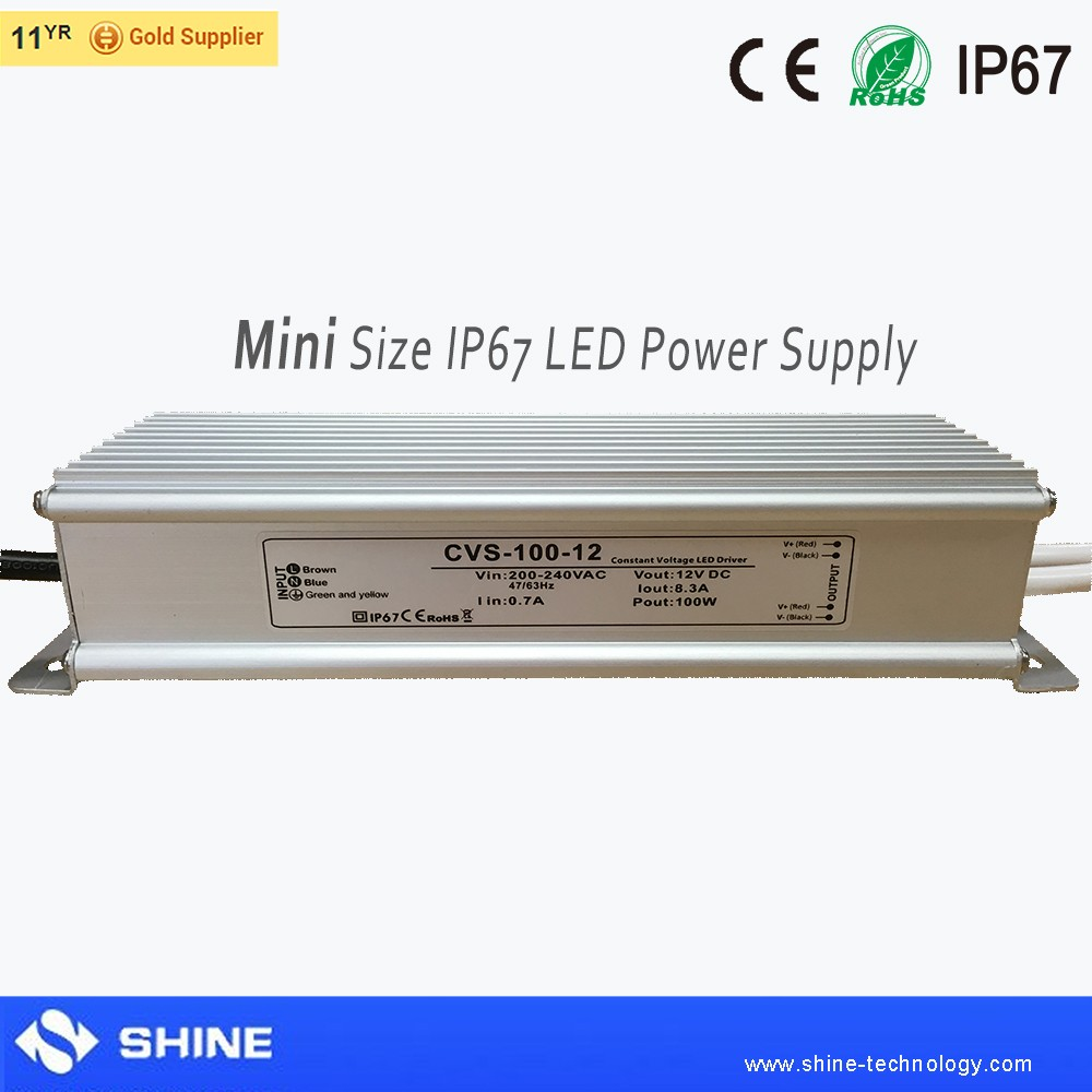 CE EMC LVD RoHS 12v 8.3a ip67 waterproof switching power supply 100w, meanwell led driver