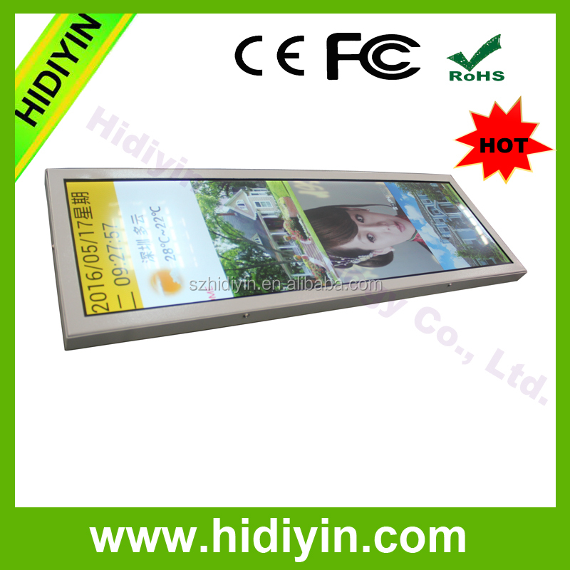 28.8'' Stretched Bar Ultra-wide LCD Display for BUS/METRO/TRAIN advertising