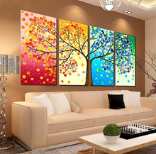 4 PieceColourful Leaf Trees frameles Canvas Painting Wall Art Spray Wall Painting Home Decor Canvas Printings bedroom paintings